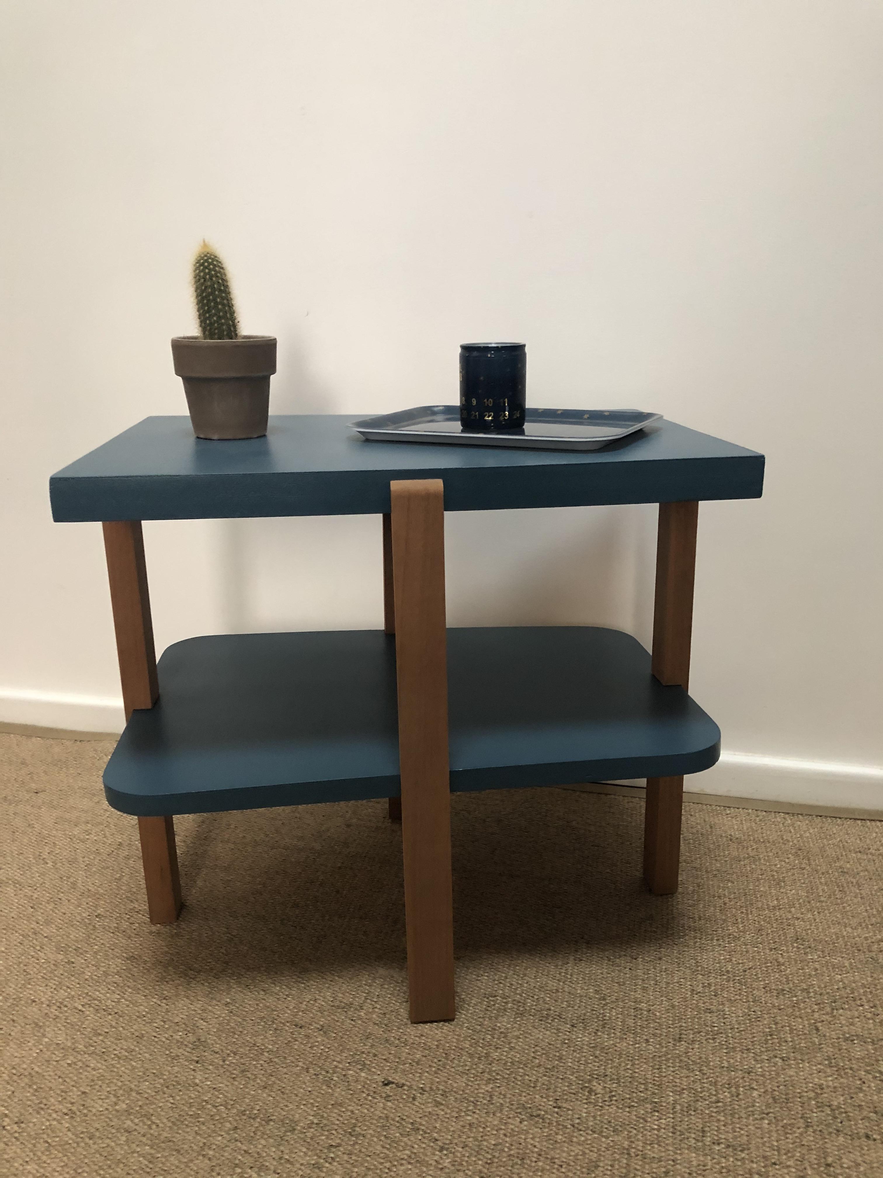 table basse art déco bleu boton
