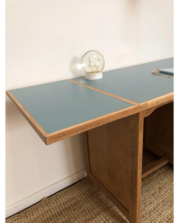 bureau en chêne avec tablette 3